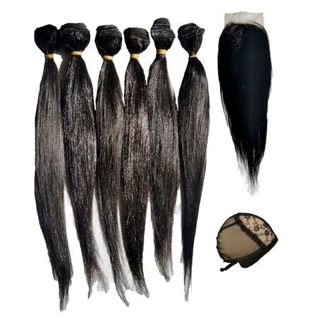 100% human virgin hair extensions 6 straight with 1 lace closure 1 cap picture