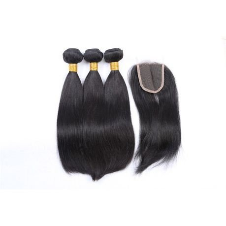 Brazilian virgin straight hair weaves 3 bundles with closure 8 inches picture