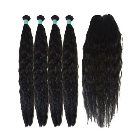 22inche x 4 piece and closure kinky style synthetic package picture