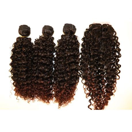 """Magic synthetic hair extensions hair bundles with closure bz j 3+1 16""""1b&33 picture"""