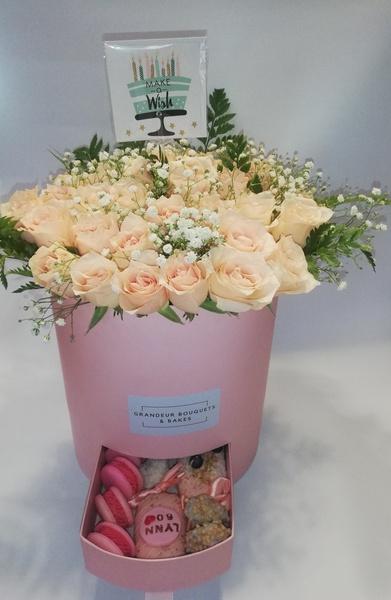 Grande peach rose fleur luxury box picture
