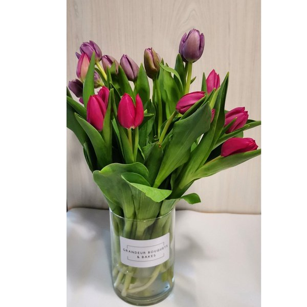 Mixed tulip bouquet in vase picture