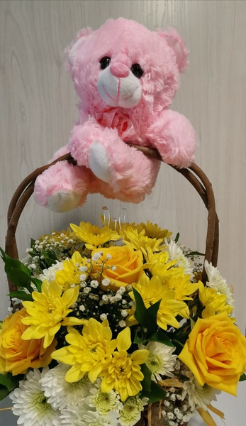 It's a girl! medium flower basket with pink teddy picture