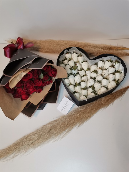 Luxury chocolate covered strawberry heart picture