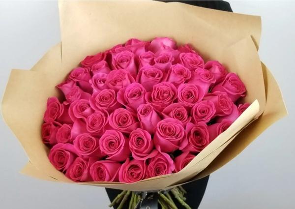 50 cerise pink luxury rose bouquet picture