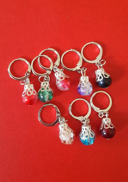 Assorted colors crystal dangle charms earrings picture