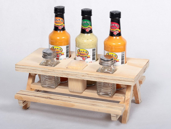 Small braai table & 3 sauce/s&p/toothpick combo picture