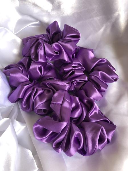 Purple satin scrunchie picture