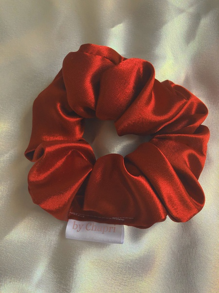 Wine red satin scrunchie picture