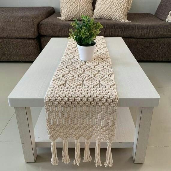 Macrame table runner picture