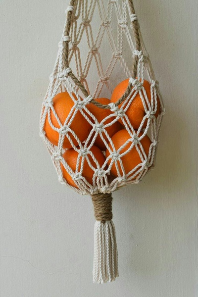 Macrame fruits bag. picture