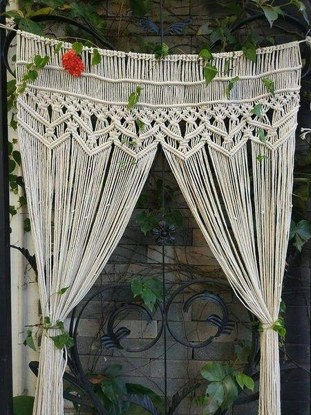 Macrame kitchen curtain picture