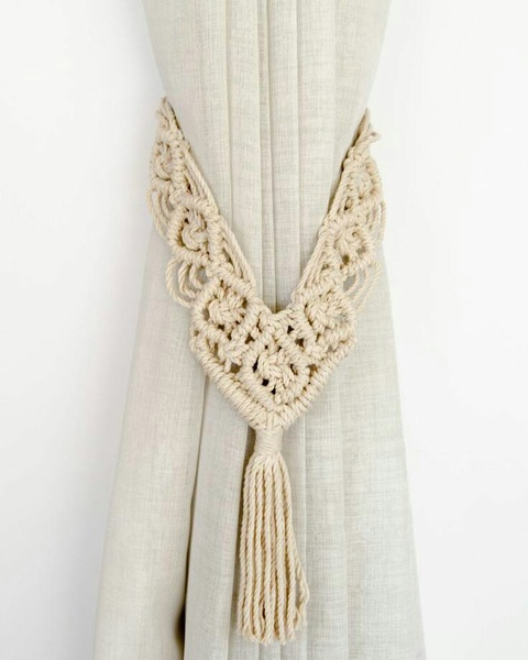 Macrame curtain tie backs picture