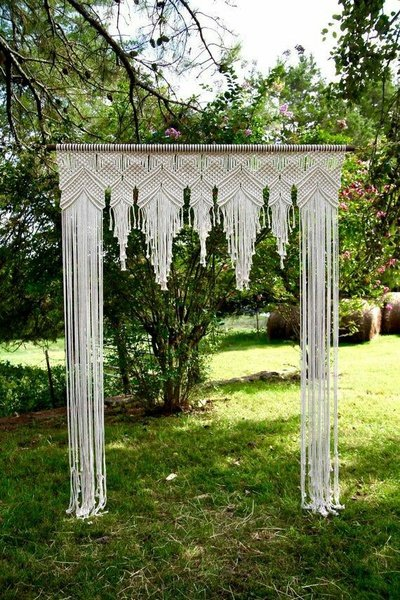 BOHEMIAN WEDDING DECOR chair covers, wedding arch, head gear, plate mats, coasters, bouquets picture