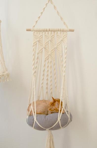 Cat macrame hammock picture