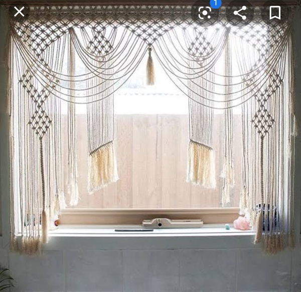 Macrame kitchen curtain picture