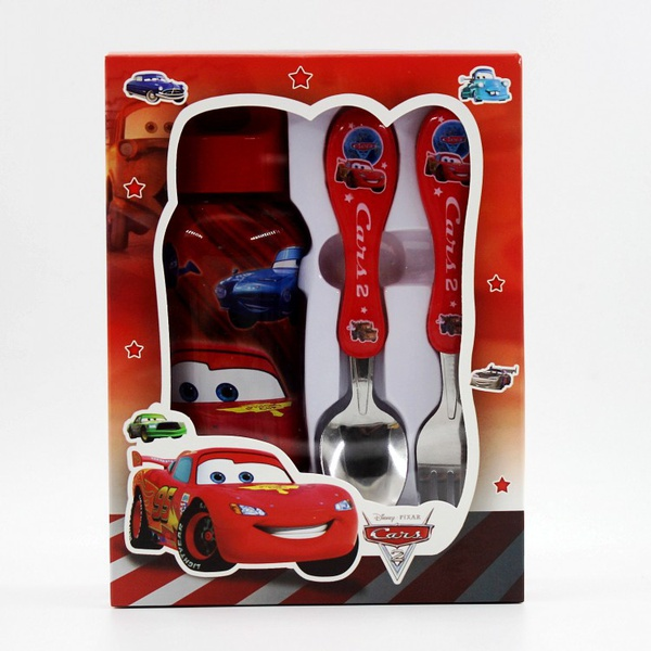 Kids 350ml water bottle and cutlery set ( cars) picture