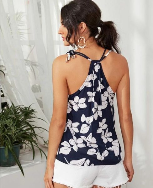 Self-tie  floral  top picture