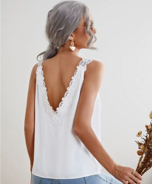 Lace contrast tank top picture