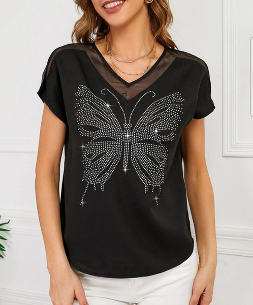 Mesh butterfly print blousse picture
