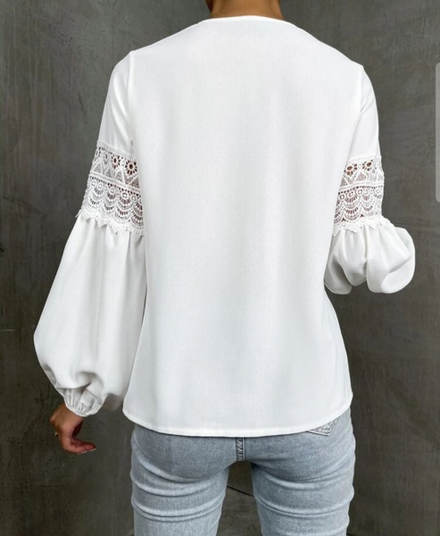 Lace insert sleeve blousse picture