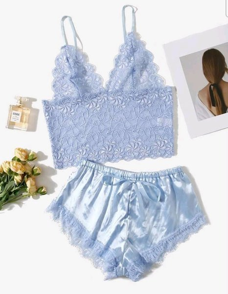 Lace bralette and satin shorts picture