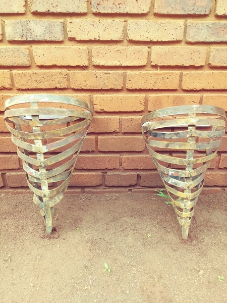 Mounted steel flower pots picture