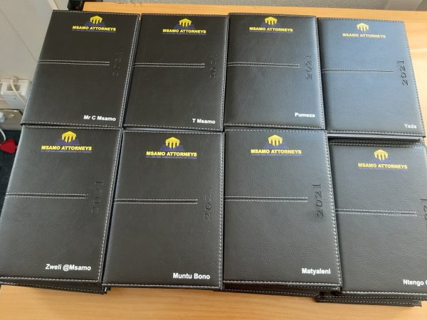 2021 personalized a5 diaries (set of 10) with foiled logos + a once off block fee of r295 picture