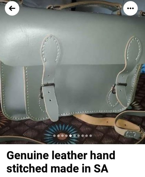 Genuine leather handcrafted and snitched grey bag picture