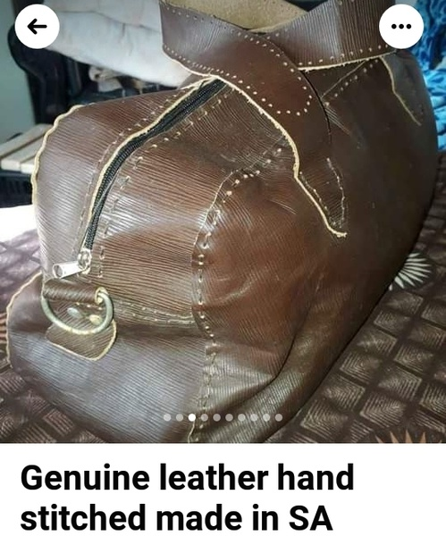 ⏭️genuine leather handcrafted & stitched brown tote bag picture