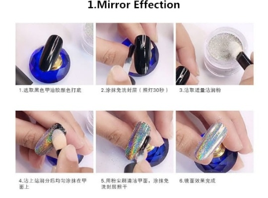 ⏭️dipping holographic powder 4 in 1 👉nails picture