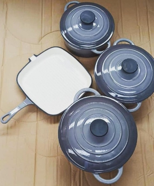 7 piece cast iron cookware set with square griddle pan picture