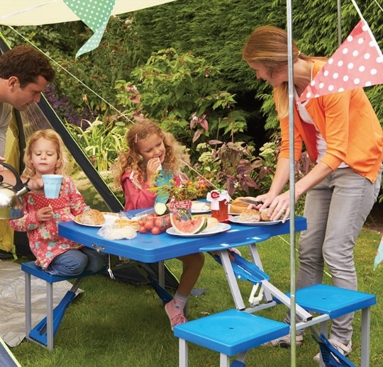Foldable compact picnic table & chairs picture