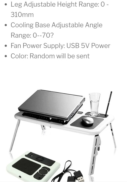 ⏭️portable/foldabke e-table with cup holder,mouse pad with fan cooler & usb interface picture
