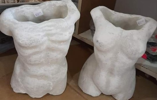Cement moulded male/female plant pots picture