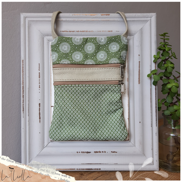 #14d green, white shweshwe with circles at top  | greenish-grey leather sling bag picture