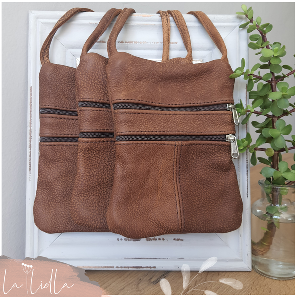 #42b rusty dark caramel leather sling bag picture