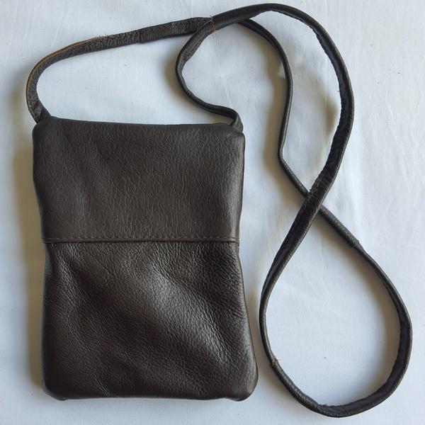#6 yellow, green shweshwe  choc leather sling bag picture