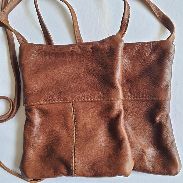 #9 blue, pink, purple shweshwe | caramel leather sling bag picture