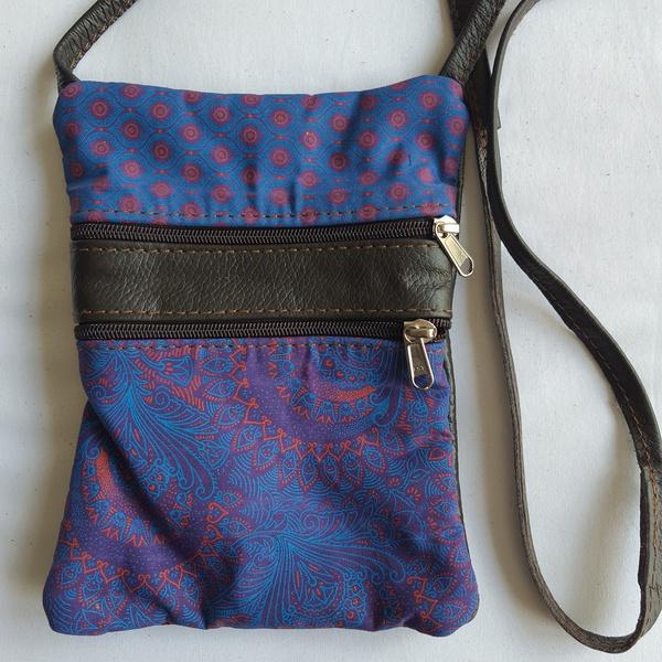 #10 blue, pink, purple  shweshwe | choc leather sling bag picture