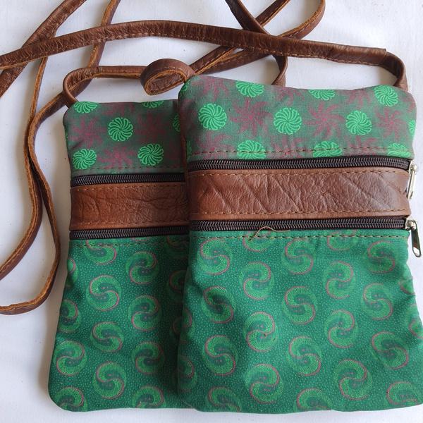 #11 green, pink shweshwe | caramel sling bag picture