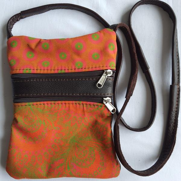 #16 orange, green, pink shweshwe | choc leather sling bag picture