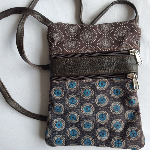 #13 blue, brown, white shweshwe   choc leather sling bag picture