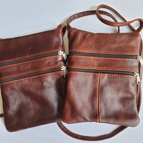 #18 dark burgundy brown leather sling bag picture