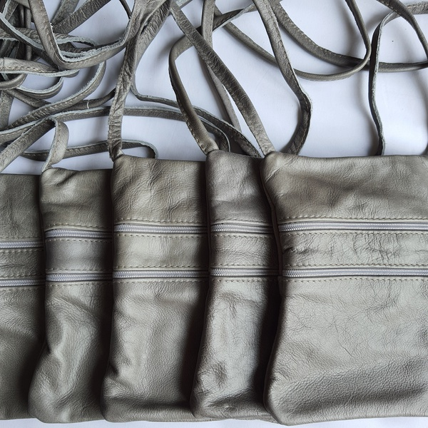#17 grey leather sling bag picture
