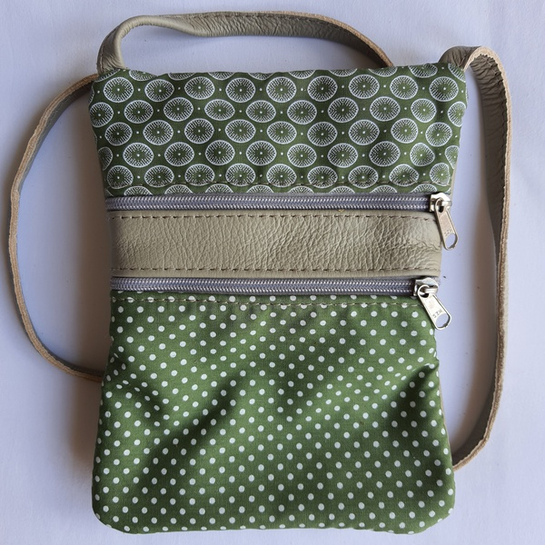 #14b green, white shweshwe with dots & circles | greenish-grey leather sling bag picture