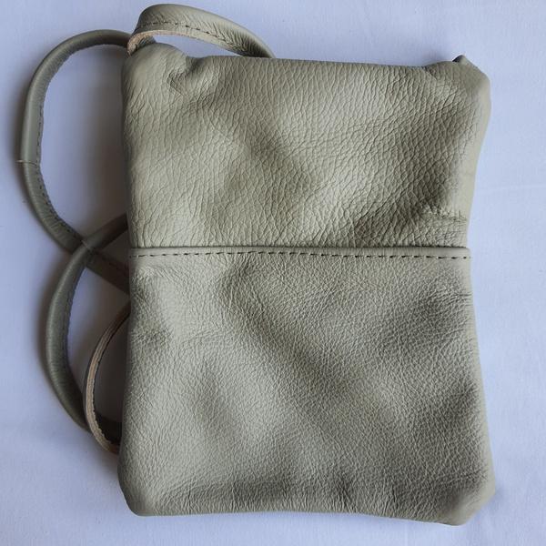 #14a green, white shweshwe | greenish-grey leather sling bag picture