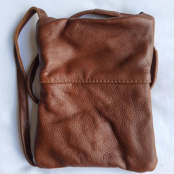#15b green & yellow shweshwe | caramel leather sling bag picture