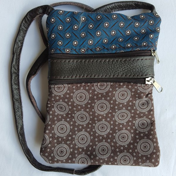 #36 blue, brown & white shweshwe | choc leather picture