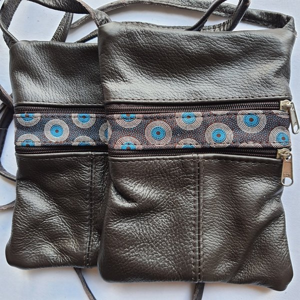 #19 blue, white, brown shweshwe strip | choc leather picture